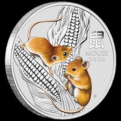 Lunární série III. - stříbrná mince Year of the Mouse (Rok krysy) 2 Oz 2020 Colored
