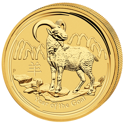 Lunární série II. - zlatá mince 15 AUD Year of the Goat (Rok kozy) 1/10 Oz 2015