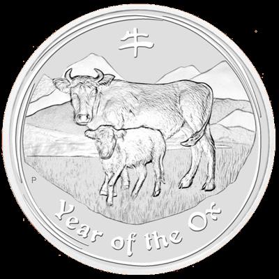 Lunární série II. - stříbrná mince 8 AUD Year of the Ox (Rok buvola) 5 Oz 2009 - RARITA !!!
