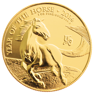 Lunární série - zlatá mince 100 Pounds Year of the Horse (Rok koně) 1 Oz 2014 (Royal Mint)