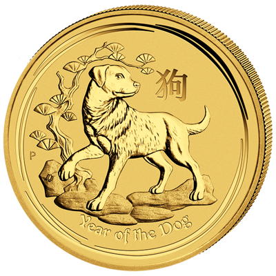 Lunární série II. - zlatá mince 100 AUD Year of the Dog (Rok psa) 1 Oz 2018