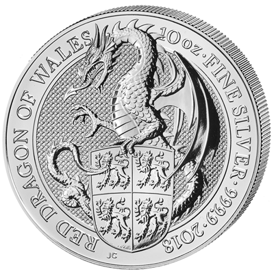 Investiční stříbro - stříbrná mince 10 Pounds The Queen's Beasts The Red Dragon of Wales 10 Oz 2018