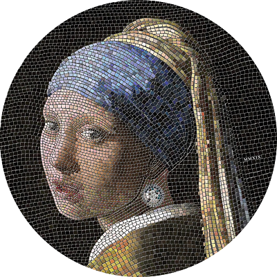 Exkluzivní stříbrná mince Girl with a Pearl Earring (Dívka s perlou - Vermeer) Great Micromosaic Passion 3 Oz 2019 PROOF